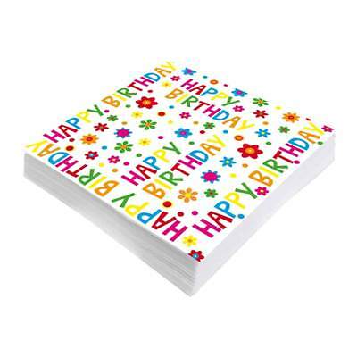 Servietten Happy Birthday Geburstag Kaffeetafel Kuchen bunt fröhlich Kinder NEU