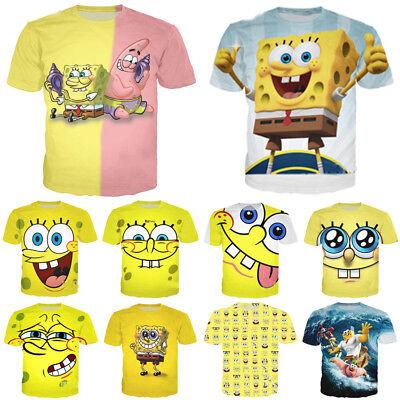 Spongebob Shirts (Men Women SpongeBob SquarePants 3D Print Casual T-Shirts Shirts Short Top)