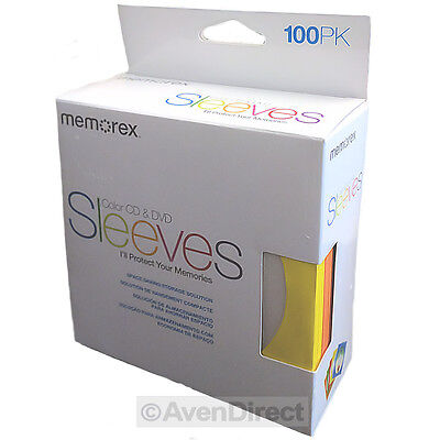 100 Memorex Multi Color Cd Dvd Paper Sleeves Window Flap Free Fast Shipping