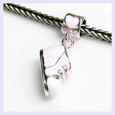 Sterling Silver Lovely Baby Girl Shoe Pink Rose Bead f/ European Charm Bracelets