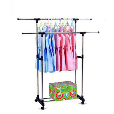 Adjustable Double-bar Wheels Rolling Garment Rack Rail Clothes Dry Hanger
