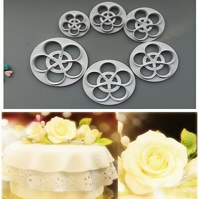 6pcs Rose Decorating Fondant Cookie Cake Mold Flower Sugarcraft Cutter Tool US