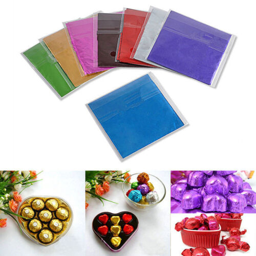 100x Square Foil Wrapping Paper for Sweets Candy Chocolate Lolly Wedding Favors