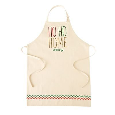 "Mud Pie Christmas Apron ""Ho Ho Home Cooking ""  37"" x 28""  NEW"