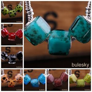 10pcs-Glass-Loose-Square-Big-Hole-Lampwork-Beads-Fit-European-Charm-Bracelet