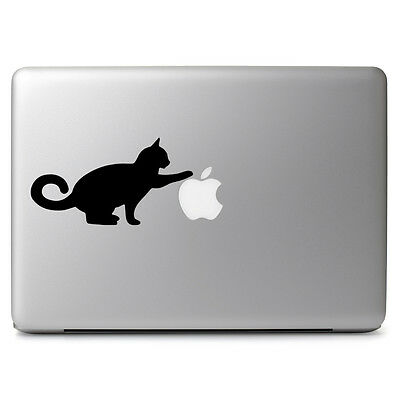 Curious Cat Apple Kitty Pet Vinyl Decal Sticker for Macbook