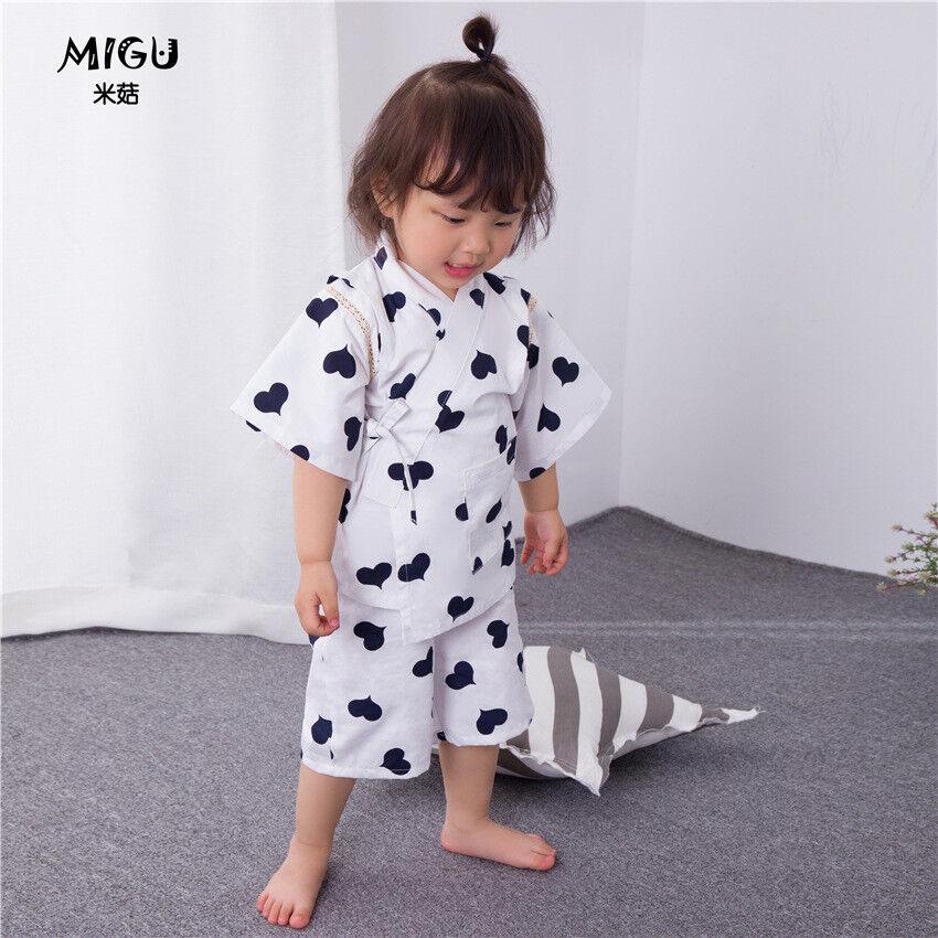 Carino Ragazze cinesi giapponesi per bambini nero cuori Kimono Pigiama Pigiama gpjs 3