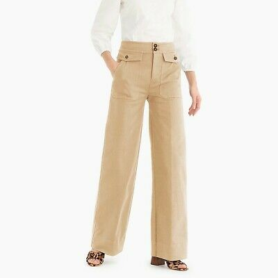 $98 J.CREW Officer Patch-Pocket Wide-Leg pant in Stretch Twill in KHAKI Size 00