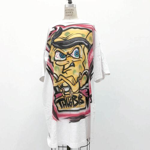 ⭕ 90s Vintage Thug Sponge bob air brush shirt : rap rave avant garde jordan jnco