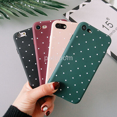 Slim Matte Silicone TPU Polka Dot Soft Phone Case Cover for iPhone SE 6s 7 Plus