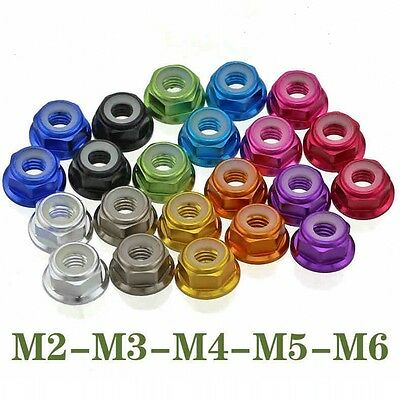 (M4 M5 4mm 5mm Nylon Insert Hex Flange Lock Nuts Aluminum Alloy Multicolor Choose)