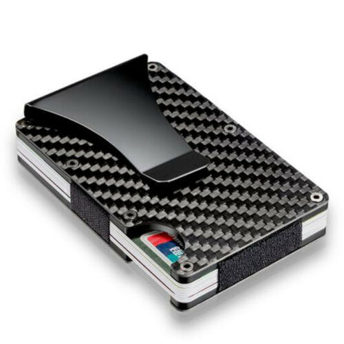 RFID Metal Carbon Fiber Elastic Band Slim Money Clip Credit Card Holder Case 1Pc
