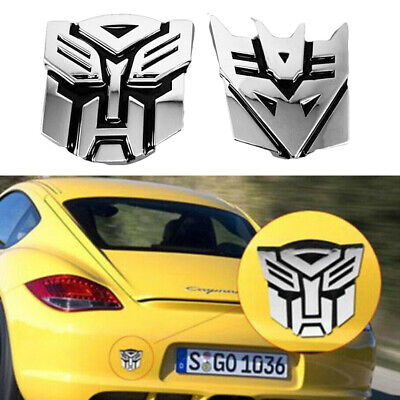 Car 3D Logo Autobot Transformers Emblem Badge Graphics Decal Cars Sticker Silver