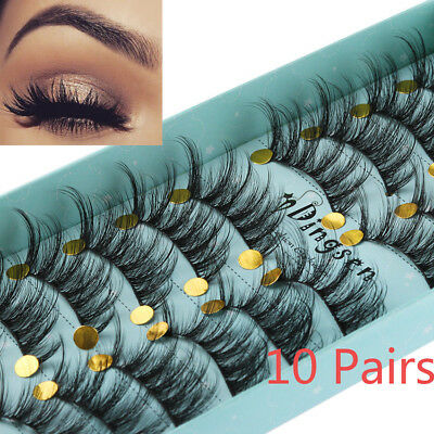 Wholesale 10 Pairs Handmade Faux Mink 3D False Eyelashes Cross Thick Long Lashes - Longs Wholesale