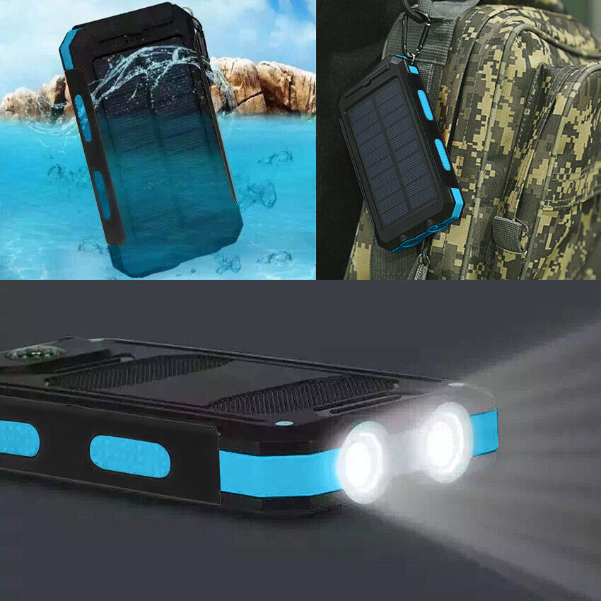 US Waterproof 900000mAh 2 USB Portable Solar Battery Charger Solar Power Bank KB