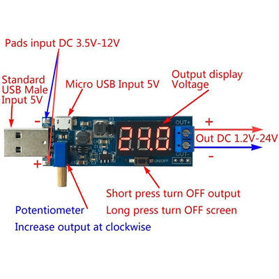 Utility Dc-dc Usb Step Updown Power Module Boost Buck Converter 5v To 1.2v-24v