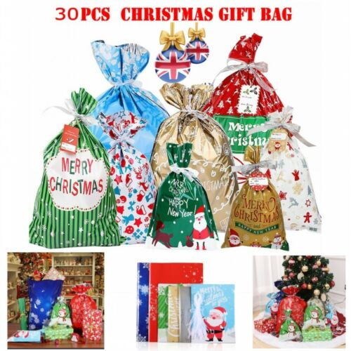 Santa Claus Christmas Xmas Theme Drawstring Red Green Gift Present Fabric Bag