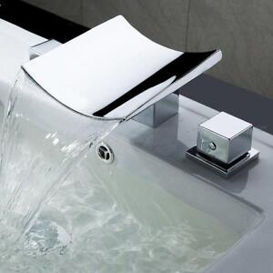 Curved Contemporary Waterfall Wide Spread Sink Faucet