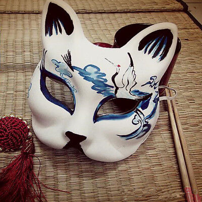 Half Face Fox Mask Japanese Anime Hand-painted Kitsune Halloween Cosplay - Half Face Paint Halloween