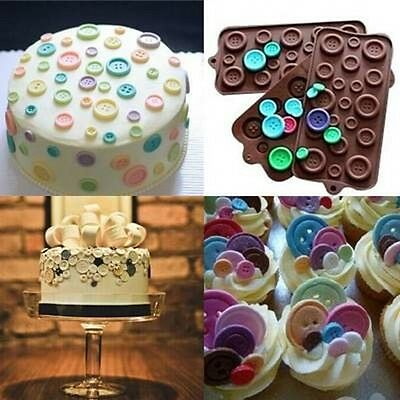 Button Mold (Button Muffin Jelly Chocolate Mould Candy Cupcake Bakeware Xmas Mold Tray)
