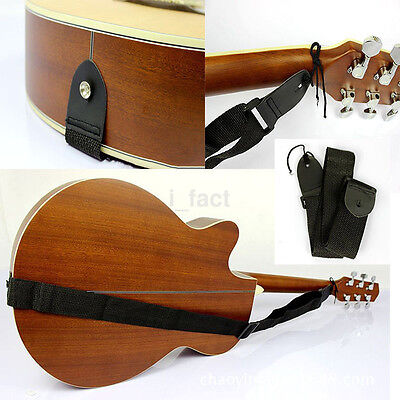 NEW Adjustable Nylon Strap Leather Ends for Electric Acoustic Guitar Bass Black