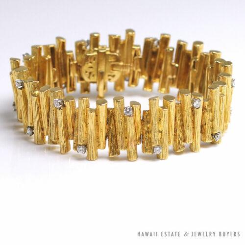 HAMMERMAN BROTHERS 1.8CTW F VS DIAMOND HAND ENGRAVED 18K YELLOW GOLD BRACELET