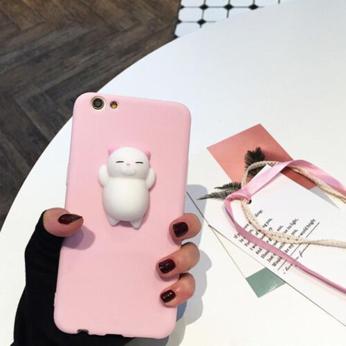 Kawaii Squishy 3D Soft Silicone Cat Bear TPU Phone Case Cute Cover For iPhone