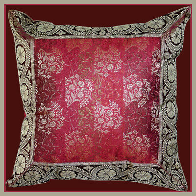 Burgundy Flower Silk Brocade Border Pillow Cover from India -