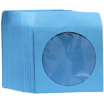 100 Premium Blue Color Paper Sleeve Window Flap CD DVD 100P [FREE FAST -