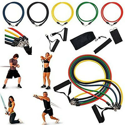 11 PCS Resistance Band Set Exercise Fitness Strength Training Tube Workout Bands