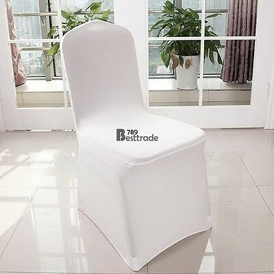 100 White Lycra Chair Cover Spandex Stretch Wedding Party Banquet Decorations