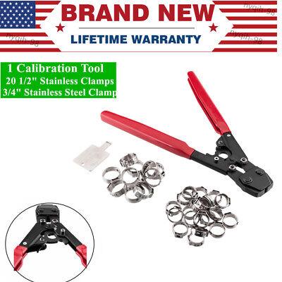 Us Pex Kit Pipe Tube Crimper Crimping Tool Set 30 Rings Stainless Steel Clamps