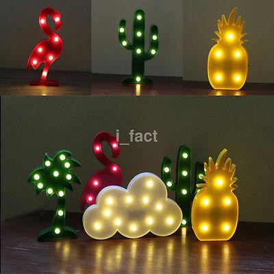 LED Flamingo Night Light Up Pineapple Cactus Palm Tree Lamp Indoor Table Decor u