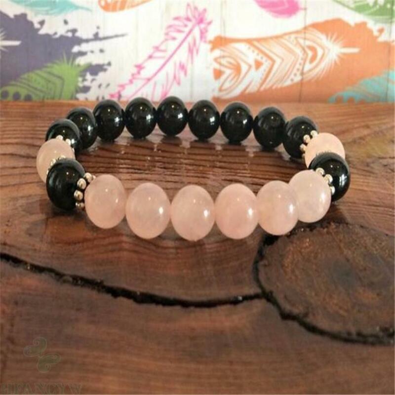 8mm Rose Quartz Obsidian Gemstone Mala Bracelet 7.5 inches Meditation Reiki Pray