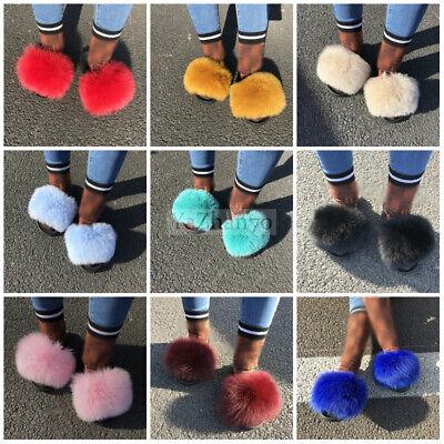 Womens Fox Raccoon Fur Slides Fuzzy Furry Slippers Sliders Slip On Sandals Shoes](Furry Raccoon)