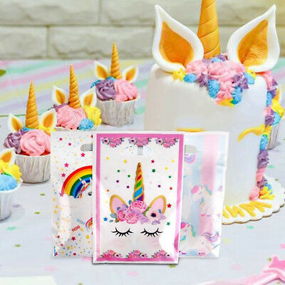 10X Flower Unicorn Theme Kids Girls Favors Loot Bags Birthday Plastic Gifts Bags