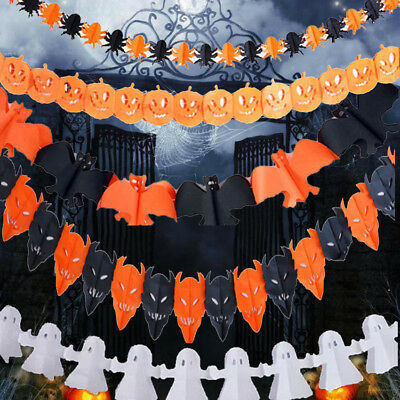 Happy Halloween Paper Bunting Pumpkin Skull Banner Pennant Garland Party Decor - Happy Halloween Garland