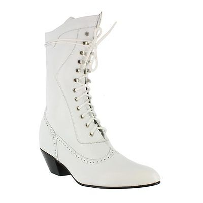 New Ladies Oaktree Farms Steeple White Calf Granny Lace Up Wedding Boot   ](Cowboy Boot Wedding)