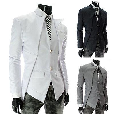 Mann asymmetrisch Design Stilvolle slim fit Vest Anzug Stil Stehkragen Jacke