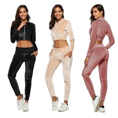 Women's Velvet 2pc Crop Sweatshirt and Pants Tracksuit Sportswear