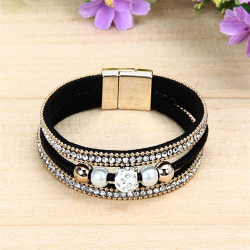 Punk Magnetic Clasp Multilayer Leather Beaded Bling Crystal Women's Bracelet US