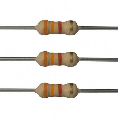 100 X 3.3k Ohm Carbon Film Resistors - 14 Watt - 5 - 3k3 - Fast Usa Shipping