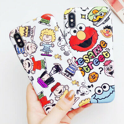 Cartoon Snoopy Phone Case For iPhone X 6s 7 8 Plus Sesame Street Silicone Cover Sesame Street Sheer