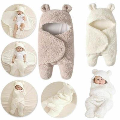 Infant Newborn Fleece Cute Bear Blacket Swaddle Baby Hooded