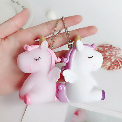 Cute Squishy Unicorn Key Chain Handbag Key Ring Fluffy PomPom Bag Charm Pendant