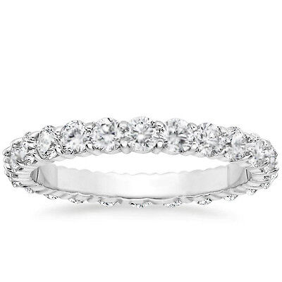 - 1 CARAT Round Natural Diamond Eternity Wedding Band 14k White Gold Womens Ring