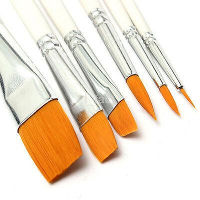 6Pcs Art Painting Brushes Set Acrylic Oil Watercolor Paint Nylon Brush Kid's US