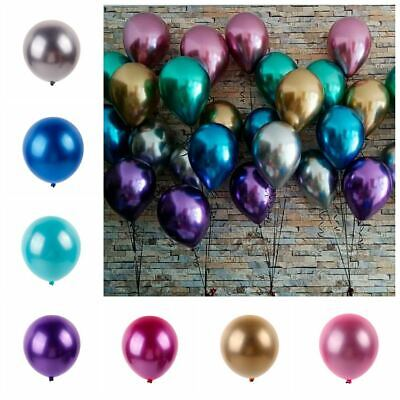 10Pcs 12'' METAL Balloon Bouquet Pearlised Latex Chrome-Like Wedding Party Decor](Pearlized Balloons)