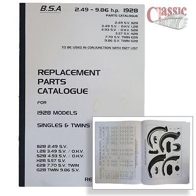 BSA 1928 Parts Book All Models
