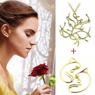 US SHIP! Beauty And The Beast Belle Rose Tree Pendant Necklace Earrings (Beauty And The Beast Rose Necklace Gold)